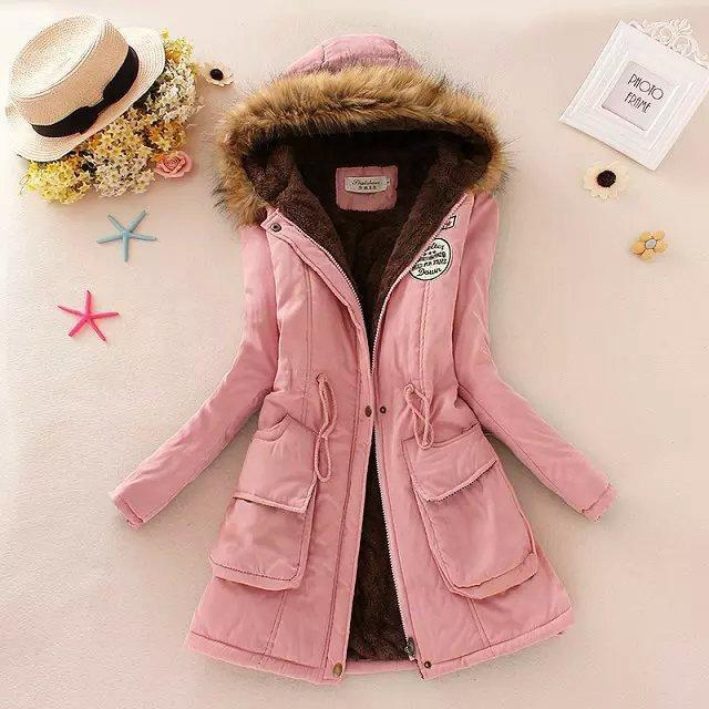Women Parka Autumn Winter Warm Jackets Women Fur Collar Coats Long Parkas Hoodies Office-Jackets & Coats-HN Co.,Ltd. Store-Pink-S-EpicWorldStore.com