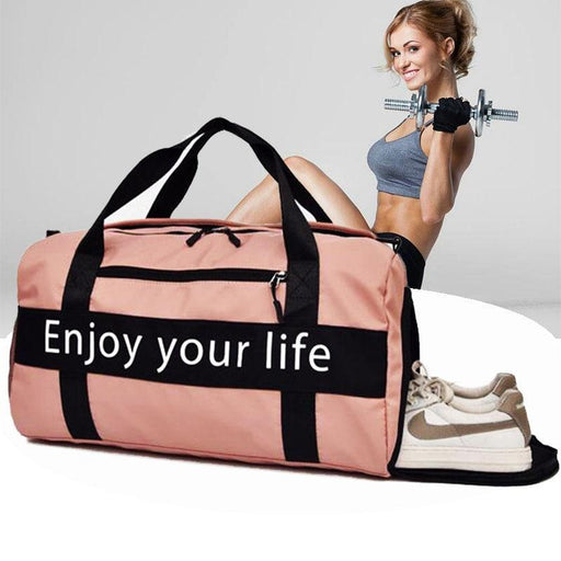 Women Pink Sports Bag Men Black Nylon Waterproof Gym Bag Shoe Storage Luggage Storage Handbag-Gym Bags-Circumference Store-Pink-EpicWorldStore.com