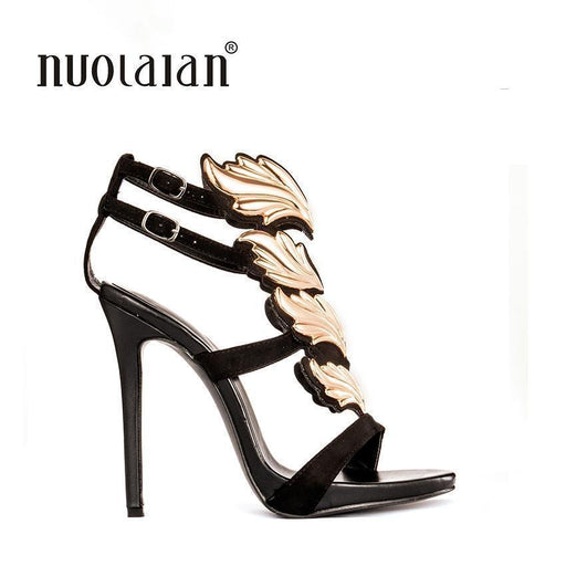Women Pumps Leaf Flame High Heel Pumps Shoes For Women Stylish Peep Toe High Heels-Women's Pumps-PADEGAO Online Store-jjygg2 black gold-4-EpicWorldStore.com