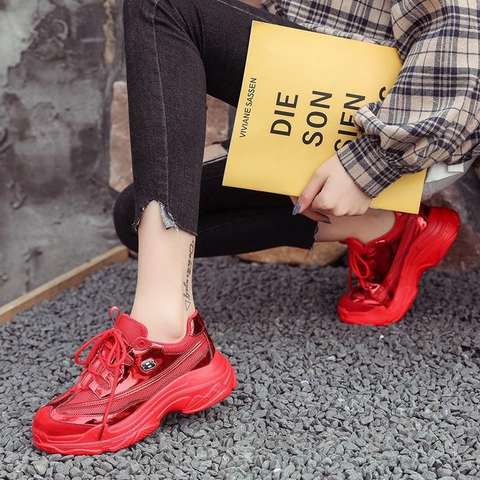 Women Red Platform Shoes Glossy Pu+Mesh Breathable High Street Ladies Shoes Thick Sole 4.5Cm Women-Women's Vulcanize Shoes-Mece Irich Store-Pink-35-EpicWorldStore.com