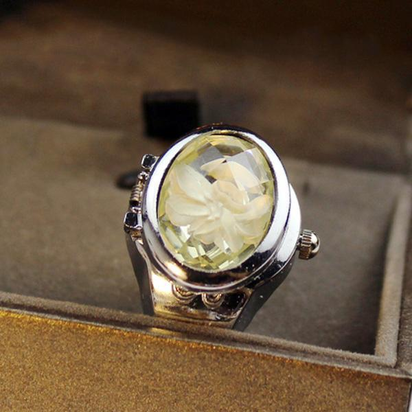 Women Ring Watch Elliptical Stereo Flower Ladies Clamshell Watches Adjustable Rings Quartz-Lover's Watches-Shop2882035 Store-As the picture-EpicWorldStore.com