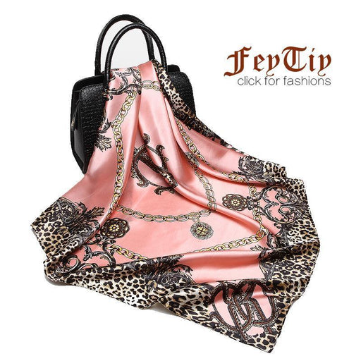 Women Scarf Luxury Brand Pink Leopard Hijab Silk Satin Shawl Scarfs Foulard Square Head-Accessories-Scarf Manufacture Store-Rose red-EpicWorldStore.com