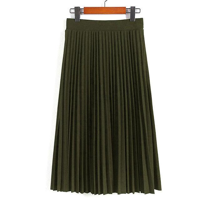 Women Skirts New Womens High Waist Pleated Solid Color Ankle Length Skirt All-Match Chiffon-Bottoms-QIUXUAN Official Store-Army reen-EpicWorldStore.com