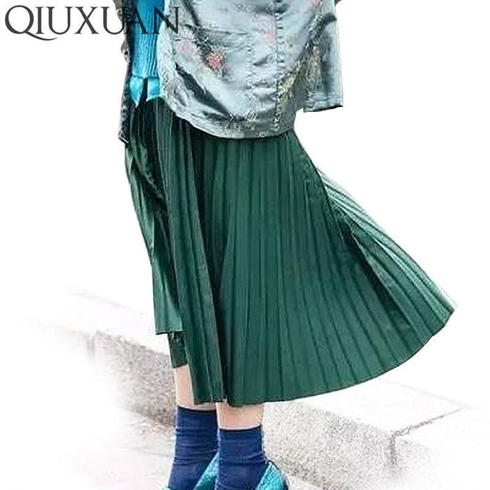 Women Skirts New Womens High Waist Pleated Solid Color Ankle Length Skirt All-Match Chiffon-Bottoms-QIUXUAN Official Store-Black-EpicWorldStore.com