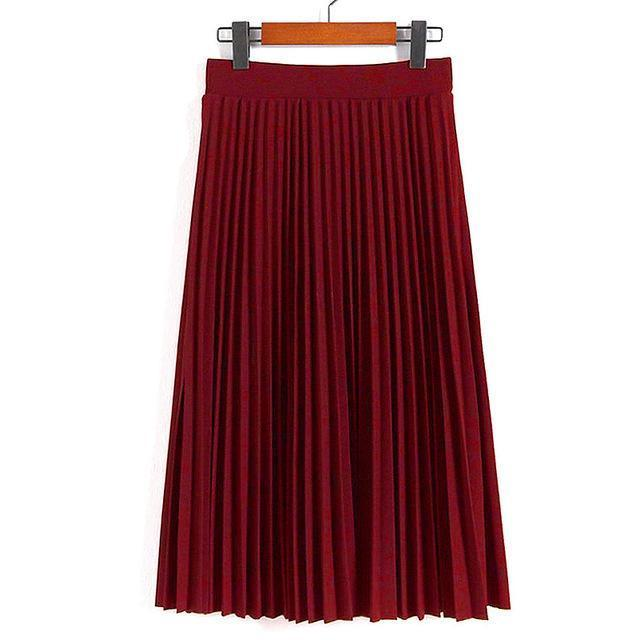 Women Skirts New Womens High Waist Pleated Solid Color Ankle Length Skirt All-Match Chiffon-Bottoms-QIUXUAN Official Store-Dark Red-EpicWorldStore.com