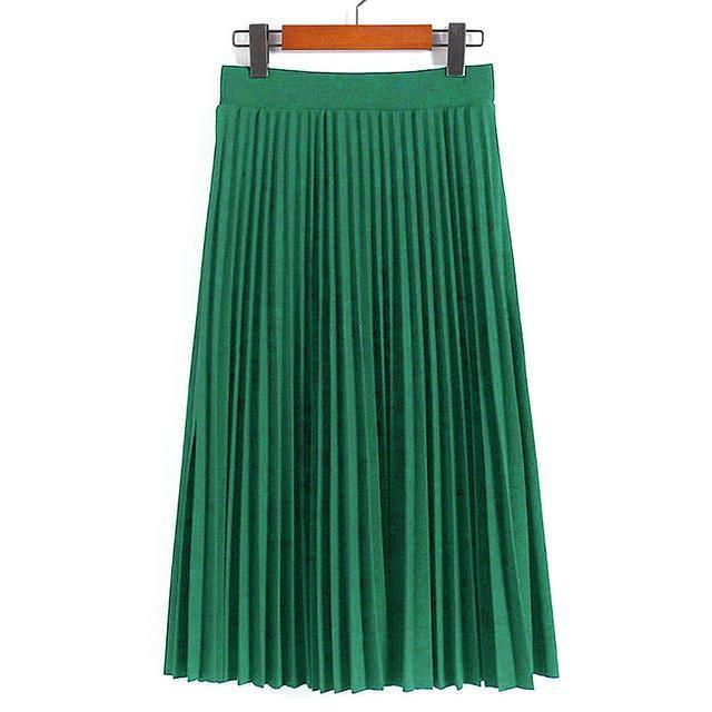 Women Skirts New Womens High Waist Pleated Solid Color Ankle Length Skirt All-Match Chiffon-Bottoms-QIUXUAN Official Store-Jade Green-EpicWorldStore.com