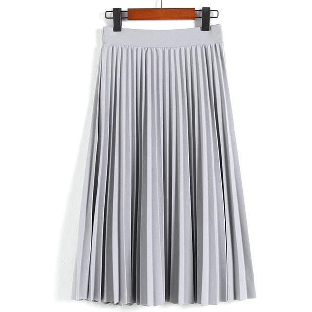 Women Skirts New Womens High Waist Pleated Solid Color Ankle Length Skirt All-Match Chiffon-Bottoms-QIUXUAN Official Store-Light Grey-EpicWorldStore.com