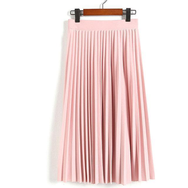 Women Skirts New Womens High Waist Pleated Solid Color Ankle Length Skirt All-Match Chiffon-Bottoms-QIUXUAN Official Store-Light Pink-EpicWorldStore.com
