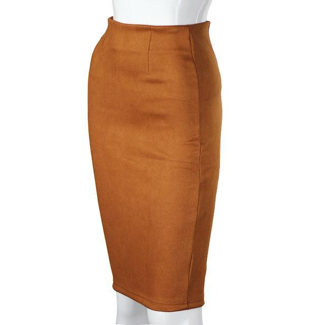Women Skirts Suede Solid Color Pencil Skirt Female Autumn Winter High Waist Bodycon Vintage Suede-Bottoms-aonibeier Official Store-Camel Brown-S-EpicWorldStore.com