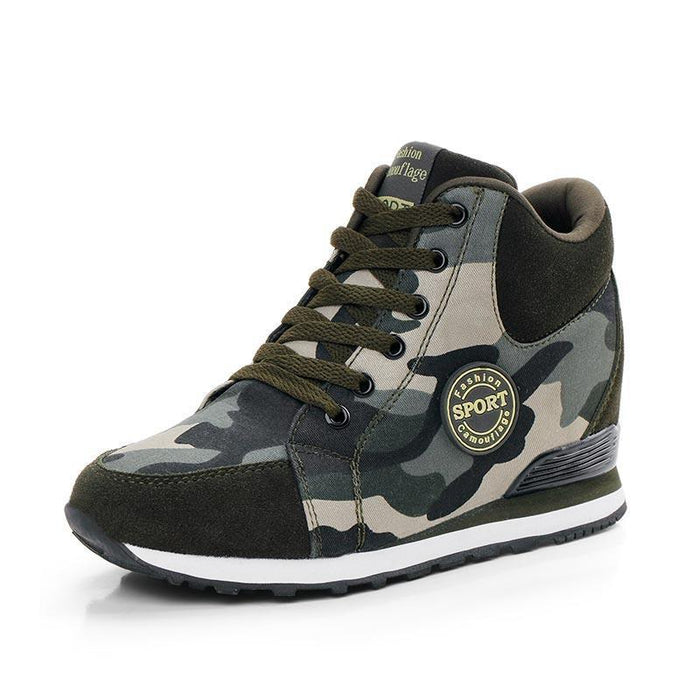Women Sneakers Canvas Shoes Fashion Camouflage High To Help Increase Women Shoes Casual Shoes-Women's Vulcanize Shoes-Best Product Best Show-army green-4.5-EpicWorldStore.com