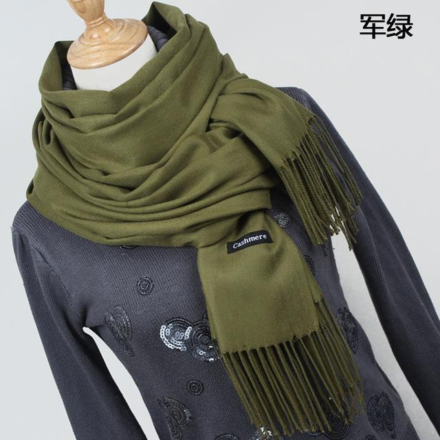 Women Solid Color Cashmere Scarves With Tassel Lady Winter Thick Warm Scarf High Quality Female-Accessories-Fashion style 777-YR001 Army green-EpicWorldStore.com