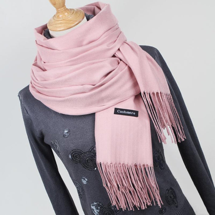 Women Solid Color Cashmere Scarves With Tassel Lady Winter Thick Warm Scarf High Quality Female-Accessories-Fashion style 777-YR001 big Red-EpicWorldStore.com
