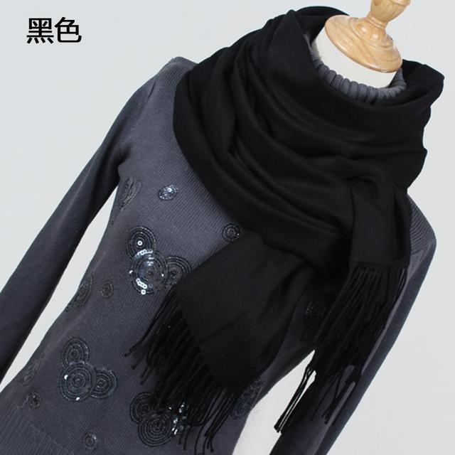 Women Solid Color Cashmere Scarves With Tassel Lady Winter Thick Warm Scarf High Quality Female-Accessories-Fashion style 777-YR001 black-EpicWorldStore.com