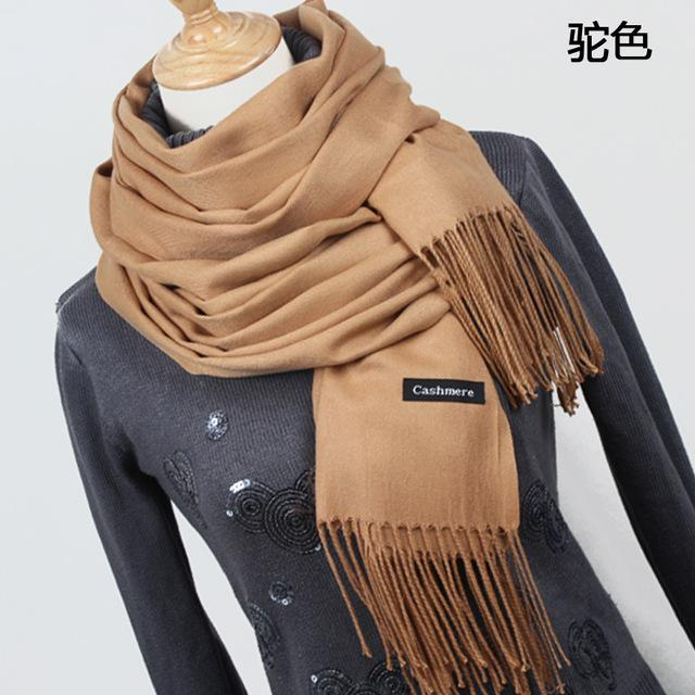 Women Solid Color Cashmere Scarves With Tassel Lady Winter Thick Warm Scarf High Quality Female-Accessories-Fashion style 777-YR001 Camel-EpicWorldStore.com