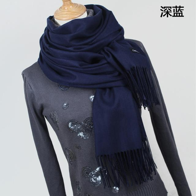 Women Solid Color Cashmere Scarves With Tassel Lady Winter Thick Warm Scarf High Quality Female-Accessories-Fashion style 777-YR001 Dark blue-EpicWorldStore.com
