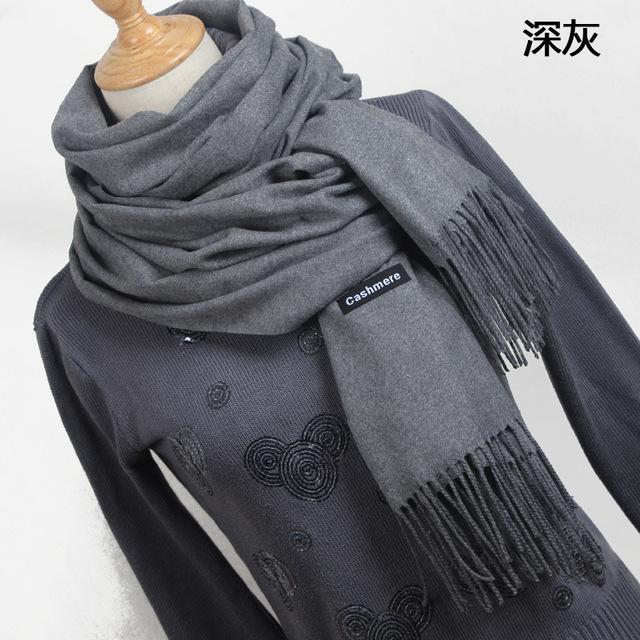 Women Solid Color Cashmere Scarves With Tassel Lady Winter Thick Warm Scarf High Quality Female-Accessories-Fashion style 777-YR001 Dark gray-EpicWorldStore.com