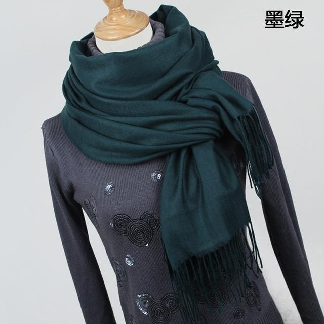 Women Solid Color Cashmere Scarves With Tassel Lady Winter Thick Warm Scarf High Quality Female-Accessories-Fashion style 777-YR001 Dark green-EpicWorldStore.com