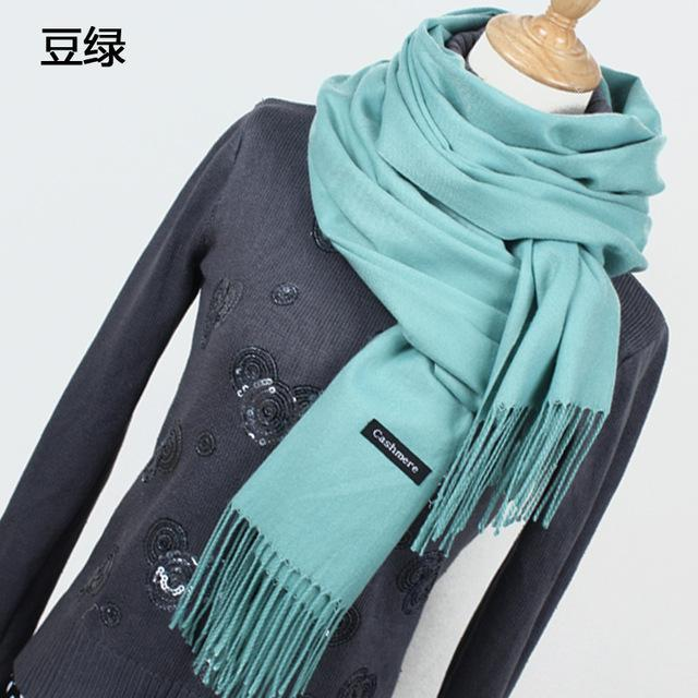 Women Solid Color Cashmere Scarves With Tassel Lady Winter Thick Warm Scarf High Quality Female-Accessories-Fashion style 777-YR001 Light green-EpicWorldStore.com