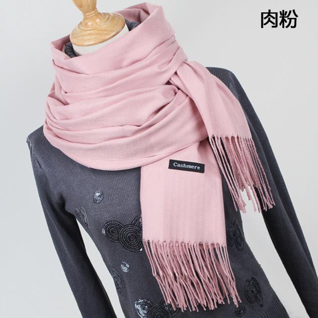 Women Solid Color Cashmere Scarves With Tassel Lady Winter Thick Warm Scarf High Quality Female-Accessories-Fashion style 777-YR001 Light powder-EpicWorldStore.com