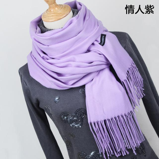 Women Solid Color Cashmere Scarves With Tassel Lady Winter Thick Warm Scarf High Quality Female-Accessories-Fashion style 777-YR001 Purple-EpicWorldStore.com