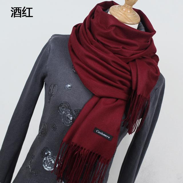 Women Solid Color Cashmere Scarves With Tassel Lady Winter Thick Warm Scarf High Quality Female-Accessories-Fashion style 777-YR001 Red wine-EpicWorldStore.com