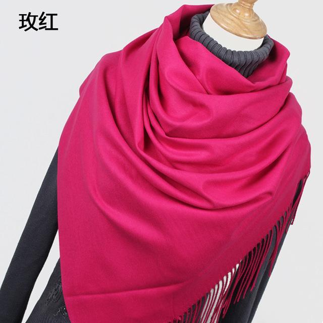 Women Solid Color Cashmere Scarves With Tassel Lady Winter Thick Warm Scarf High Quality Female-Accessories-Fashion style 777-YR001 Rose-EpicWorldStore.com