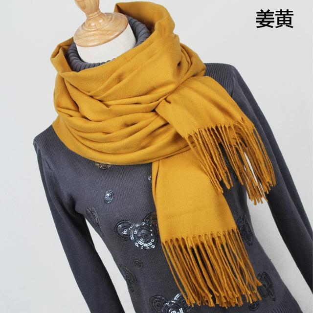 Women Solid Color Cashmere Scarves With Tassel Lady Winter Thick Warm Scarf High Quality Female-Accessories-Fashion style 777-YR001 turmeric-EpicWorldStore.com