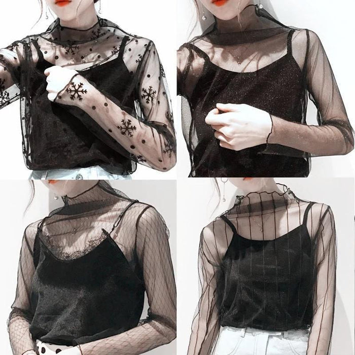 Women Stylish Harajuku Mesh Net See Through T Shirt Hollow Transparent Undershirt Star Dot Base Top-Tops & Tees-SHE'S Wholesale Store-Black Lightning-EpicWorldStore.com