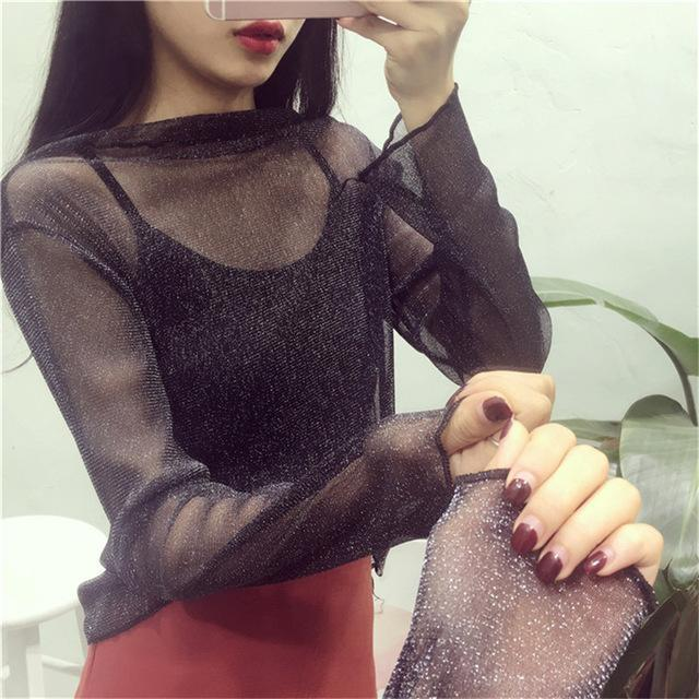 Women Stylish Harajuku Mesh Net See Through T Shirt Hollow Transparent Undershirt Star Dot Base Top-Tops & Tees-SHE'S Wholesale Store-Black Silver-EpicWorldStore.com