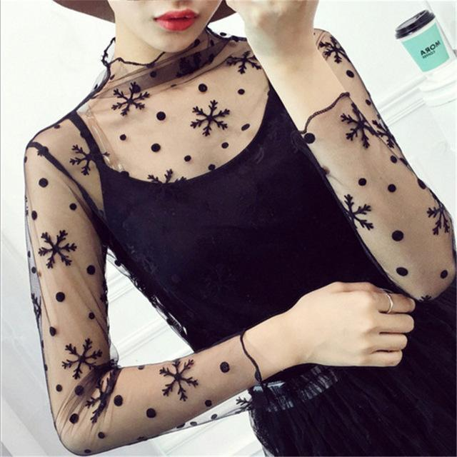Women Stylish Harajuku Mesh Net See Through T Shirt Hollow Transparent Undershirt Star Dot Base Top-Tops & Tees-SHE'S Wholesale Store-Black Snowflake-EpicWorldStore.com