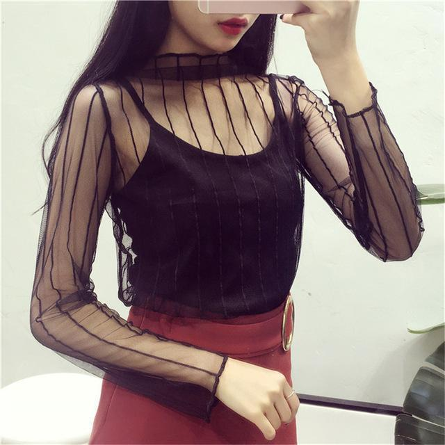 Women Stylish Harajuku Mesh Net See Through T Shirt Hollow Transparent Undershirt Star Dot Base Top-Tops & Tees-SHE'S Wholesale Store-Black Stripe-EpicWorldStore.com
