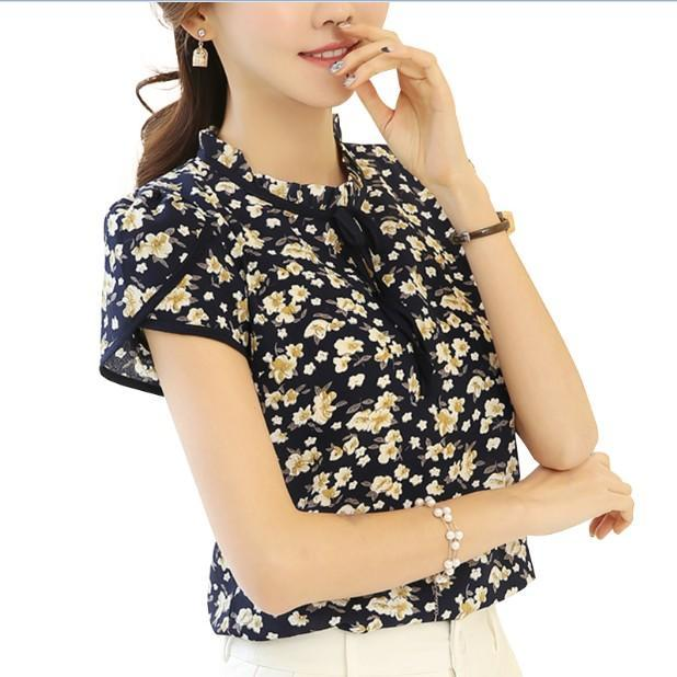 3df0714b32b Women Summer Tops Chiffon Blouses And Shirts Ladies Floral Print Feminine Blouse  Short Sleeve Blusas-