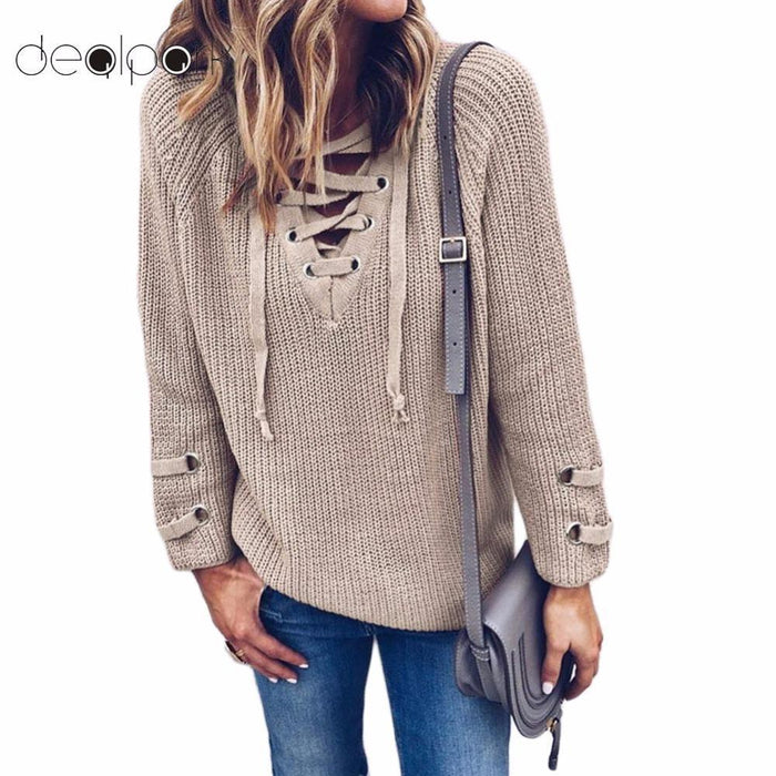 Women Sweater And Pullovers Female V Neck Knitted Lace Up Sweater Striped Bandage Cross Ties-Sweaters-DealPark-Beige-S-EpicWorldStore.com