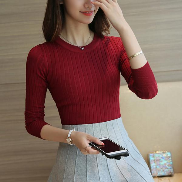 Women Sweater High Elastic Solid Turtleneck Fall Winter Sweater Women Slim Stylish-Sweaters-AOSSVIAO Store-Red-EpicWorldStore.com