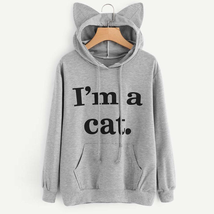 Women Sweatshirt Cat Slogan Print Cat Ear Kawaii Hoodie Sweatshirt New Black Print Cute-Hoodies & Sweatshirts-Fantasy Cloth Store-Black-S-EpicWorldStore.com