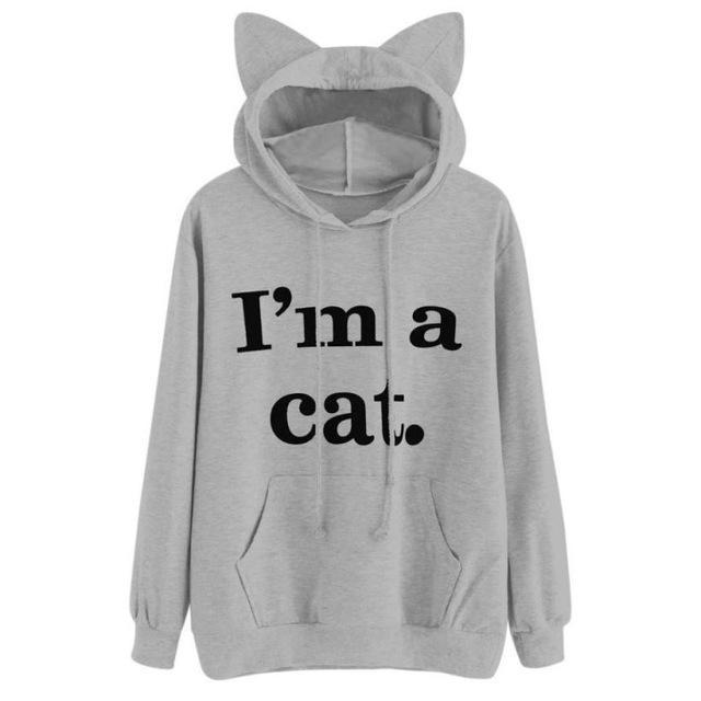 Women Sweatshirt Cat Slogan Print Cat Ear Kawaii Hoodie Sweatshirt New Black Print Cute-Hoodies & Sweatshirts-Fantasy Cloth Store-Gray-S-EpicWorldStore.com