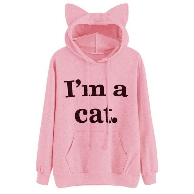 Women Sweatshirt Cat Slogan Print Cat Ear Kawaii Hoodie Sweatshirt New Black Print Cute-Hoodies & Sweatshirts-Fantasy Cloth Store-Pink-S-EpicWorldStore.com