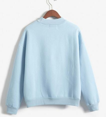 Women Sweatshirt Europe And The United States Candy Color Code Loose Long Sleeve Harajuku Style-Hoodies & Sweatshirts-The best store-blue-M-EpicWorldStore.com