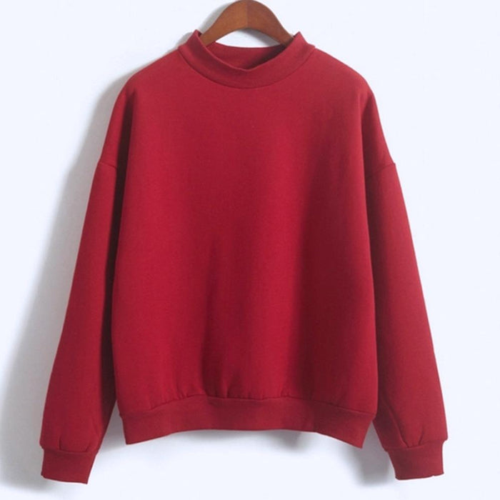 Women Sweatshirt Europe And The United States Candy Color Code Loose Long Sleeve Harajuku Style-Hoodies & Sweatshirts-The best store-red-M-EpicWorldStore.com