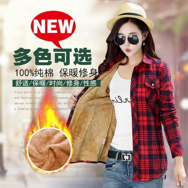Women Winter Velvet Thick Keep Warm Plaid Cotton Blouse Long Sleeve Turn-Down Collar Pocket-Blouses & Shirts-YUNSHAN E-commerce CO.,LTD Store-8898021-M-EpicWorldStore.com