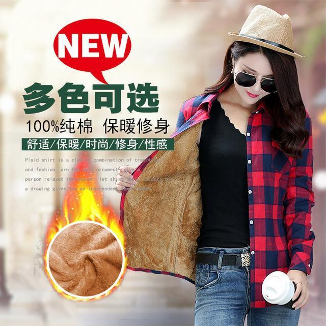 Women Winter Velvet Thick Keep Warm Plaid Cotton Blouse Long Sleeve Turn-Down Collar Pocket-Blouses & Shirts-YUNSHAN E-commerce CO.,LTD Store-8898030-M-EpicWorldStore.com