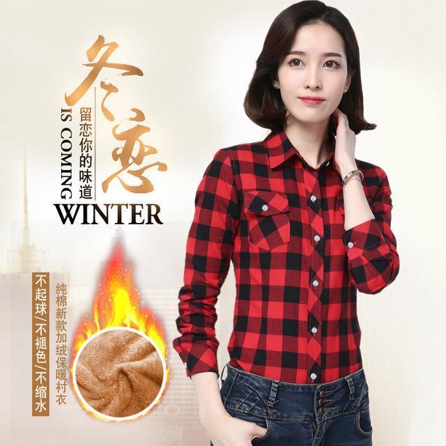 Women Winter Velvet Thick Keep Warm Plaid Cotton Blouse Long Sleeve Turn-Down Collar Pocket-Blouses & Shirts-YUNSHAN E-commerce CO.,LTD Store-8898040-M-EpicWorldStore.com