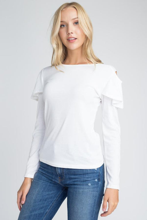 Womens Cold Shoulder Ruffle Long Sleeve Top-Women's Fashion Apparel-Marcelle Margaux-White-Small/Medium-EpicWorldStore.com