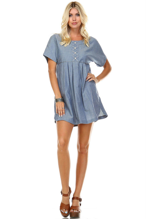 a9f9128f86 Womens Denim Button-Accent Scoop Neck Dress-Women s Fashion  Apparel-Marcelle Margaux-