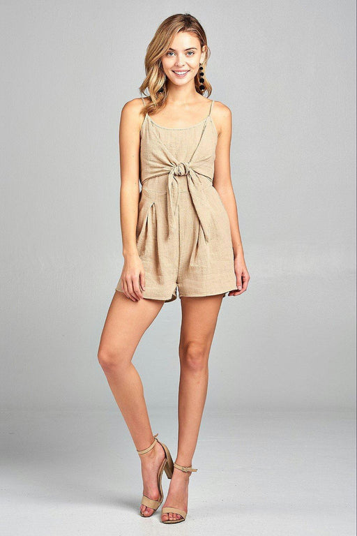 Womens Front Tie Tank Romper With Open Back-Women's Fashion Apparel-Marcelle Margaux-Khaki-Medium-EpicWorldStore.com