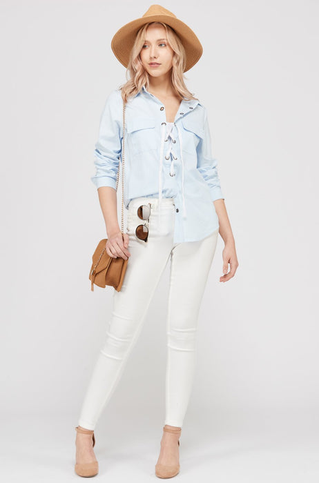 Womens Lace Up Blouse Top-Women's Fashion Apparel-Marcelle Margaux-Blue-Small-EpicWorldStore.com
