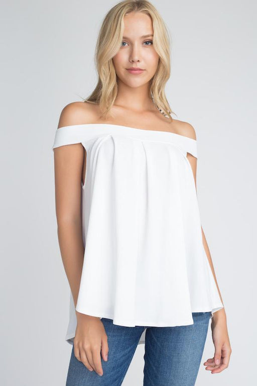 5e63c60bcd85fc Womens Off Shoulder Flow Top-Women s Fashion Apparel-Marcelle Margaux-White -Small
