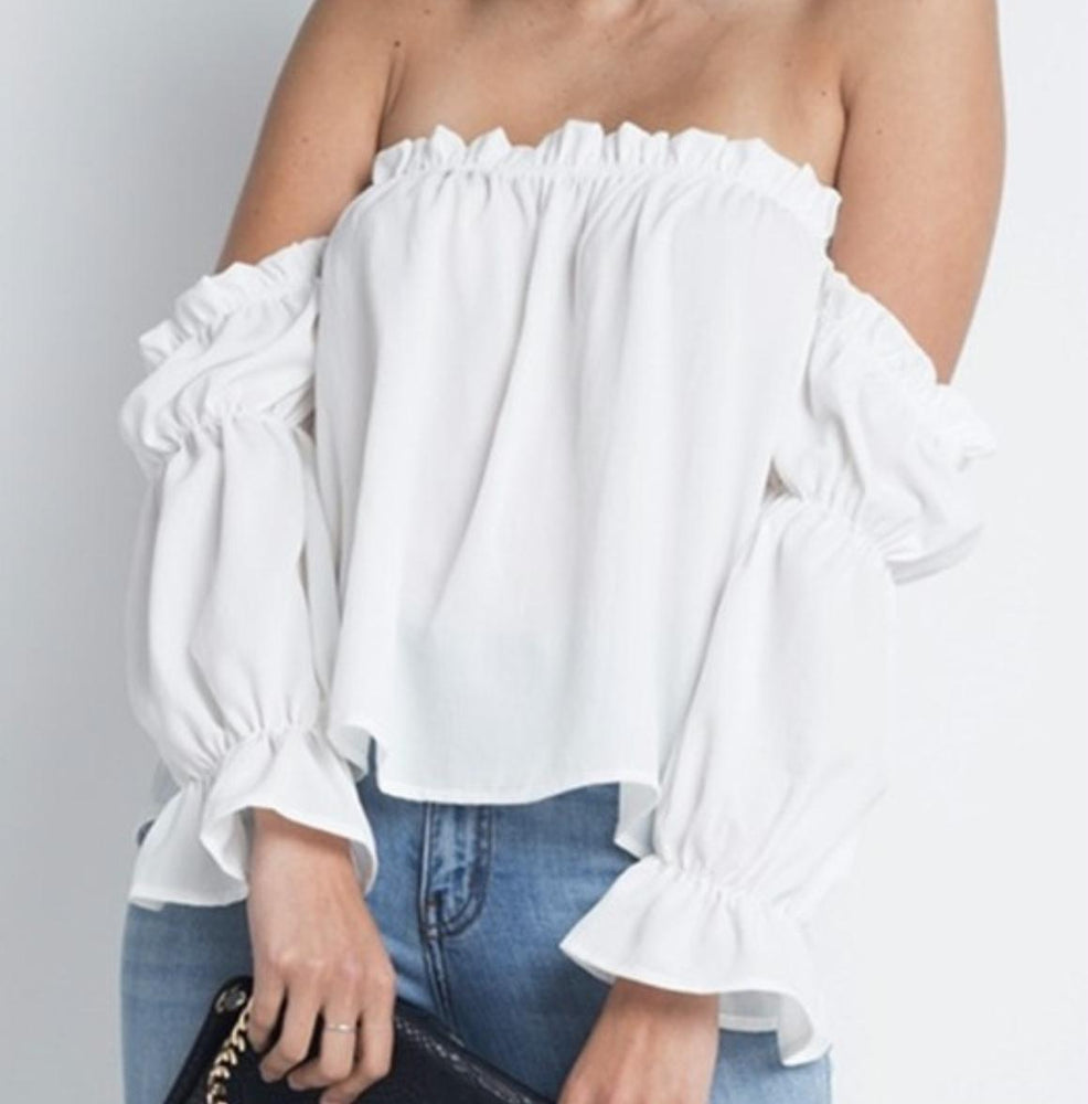 d8888aaa0cd Womens Off Shoulder Ruffle Bardot Top-Women's Fashion Apparel-Marcelle  Margaux-White-