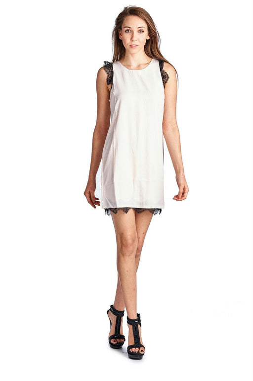 2ff05d939c Womens Sleeveless Short Dress With Lace Detail-Women s Fashion Apparel-Urban  Love-Blush