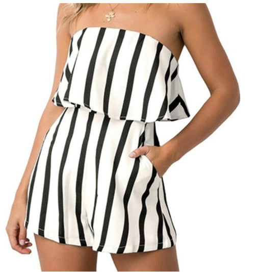 Womens Strapless Stripe Pocket Romper-Women's Fashion Apparel-Marcelle Margaux-White Black-Small-EpicWorldStore.com